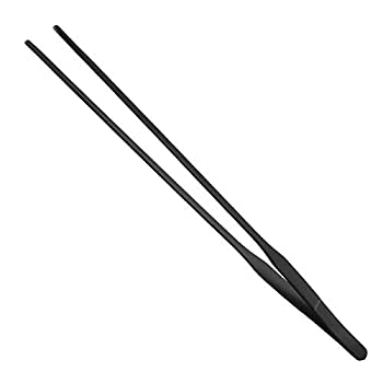 FRUTA Aquarium Tweezers Stainless Steel Straight Tweezer with Carbonation Protection Coating Against Rust Extra Long Reptiles Feeding Tongs Tools for Aquatic Tank Plants,15 inch- Black Straight