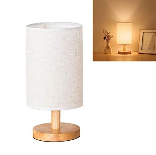 Lámpara de mesilla de madera vintage, lámpara de ambiente con bombilla E27...