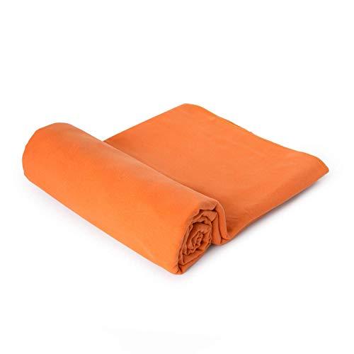 Microvezel badjas voor gym gym, reizen, strand kleding + sporttas. 10 oranje