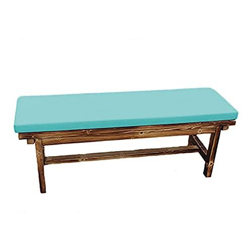 Xpnit Cojín para asiento de banco de jardín de 2 plazas de 3 plazas, impermeable, cojín de banco para interiores y exteriores, jardín, césped, patio, columpio (90 x 35 x 5 cm), color azul claro