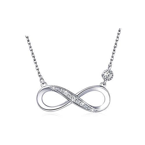 Cestbon 925 Sterling Silber Halskette - Infinity Herz Anhänger Weißes Gold Überzogene Diamant Frauen Einstellbare Halskette,Silber