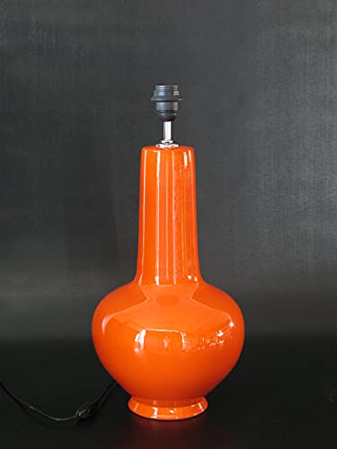 POLONIO Lámpara de Ceramica Mediana de Salon de 39 cm Naranja, E27,...