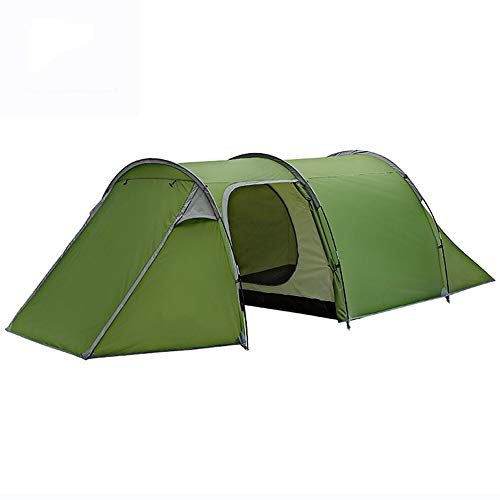 AIGUO Outdoor Camping Tents, One-room And One-bedroom Double-layer Rainproof Tunnel Tent, Waterproof Family Picnic Tent