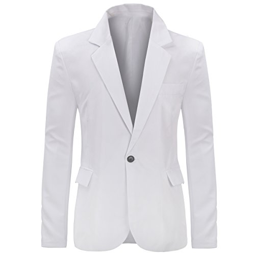 YUNCLOS Men's Slim Fit Casual One Button Notched Lapel Blazer Jacket (Jacket-White, XXXL)
