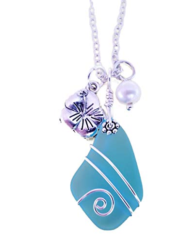 Handmade in Hawaii, wire wrapped Turquoise Bay blue sea glass necklace, Hibiscus and freshwater pearl, (Hawaii Gift Wrapped, Mother's Day Gift)