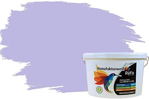 RyFo Colors Bunte Wandfarbe Manufakturweiß Flieder 10l - weitere Blau Farbtöne und Größen erhältlich, Deckkraft Klasse 1, Nassabrieb Klasse 1