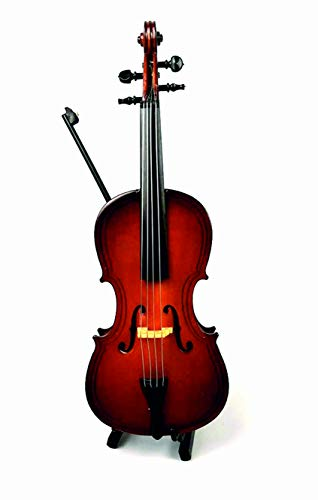 ALANO Wood Miniature Cello with Stand, Bow and Case, Mini Wooden Musical Instrument Dollhouse Replica Ornament Holiday Accessories Gifts (18cm)