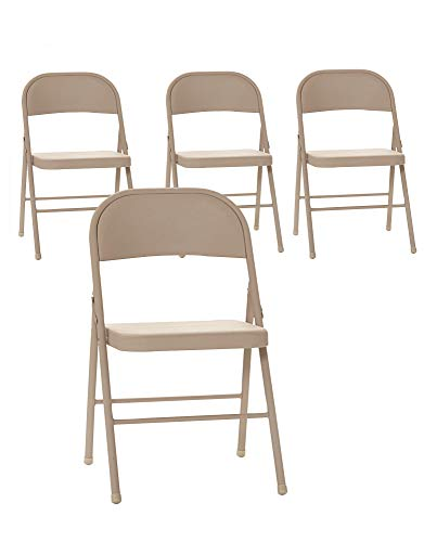 Cosco All Steel Folding Chair, 4 Pack, Antique Linen