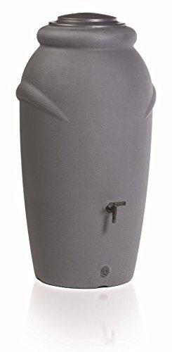 Regentonne 210 Liter [Amphore Design] Regenfass Frostsicher aus Kunststoff - Regenwassertonne mit Wasserhahn - Regenwassertank Garten (Grau)