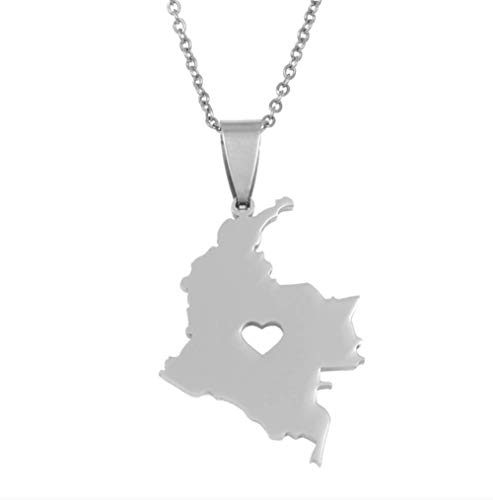 VAWAA Columbia Mapa Colgante Collar para Mujeres Hombres Plata Acero Inoxidable Joyería...