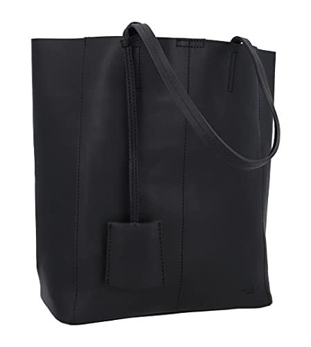 Gusti Shopper Leder - Cassidy Handtasche Ledertasche Umhängetasche Henkeltasche Laptoptasche 13L Tasche Damen groß Schwarz