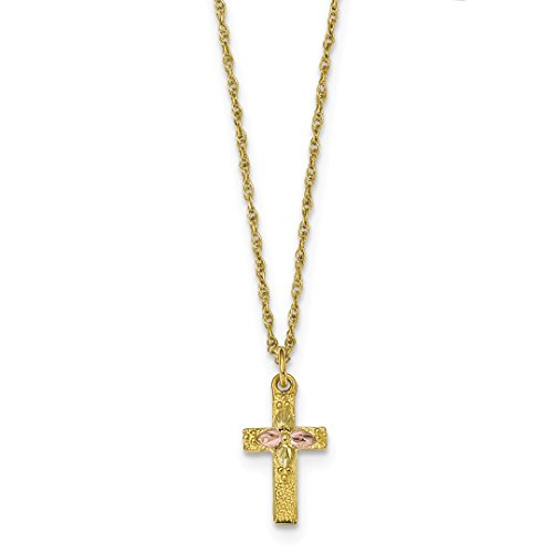 10k Tri Color Black Hills Gold Cross Religious Chain Necklace Pendant Charm Crucifix Fine Jewelry For Women Gift Set