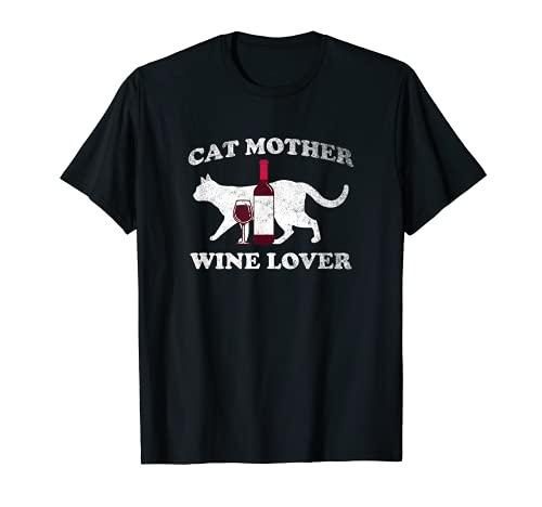 Cat Mother Wine Lover Gracioso gráfico de vino y gato Camiseta
