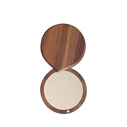 Decoración del hogar- 2pcs de estilo japonés de madera sólida del espejo portátil, plegable magnético Maquillaje de la niña al aire libre, la nuez Mini Espejo Decoración de pared para sala de estar