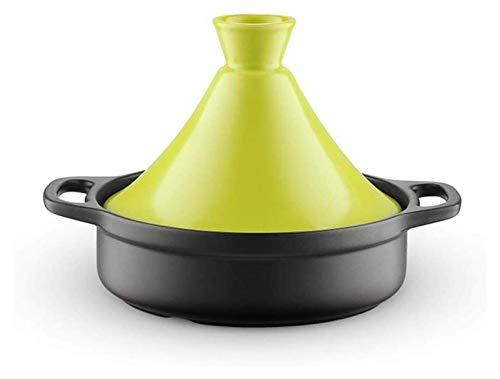 ouruanyang Cacerola con tapa, sartenes de cerámica marroquí, cazuela con asa, olla de vapor de color brillante, olla de micropresión saludable (color: verde, tamaño: mediano)