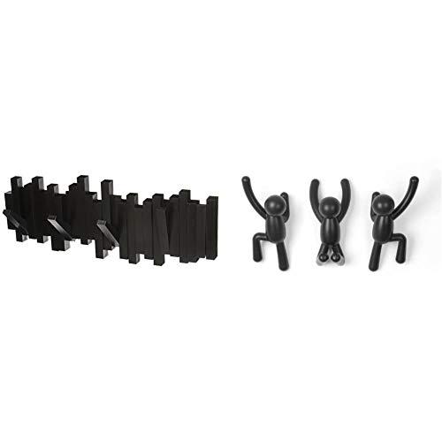 Umbra 318211-040 Perchero decorativo de pared Sticks Negro + 318165-040 Percheros de Pared Buddy Negro,Set of 3