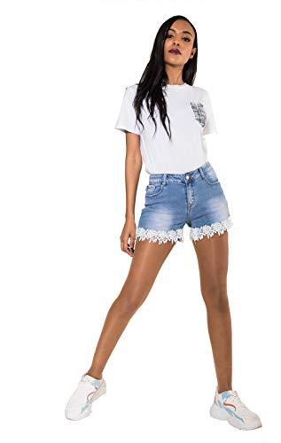 Crazy Age Damen Spitze Häkeln Tassel Hohe Taille Denim Shorts Lochjeans Jeans Hot Pants mit Taschen (38, R-582)