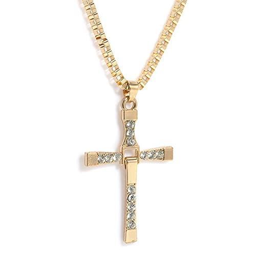 Persdico Collar de Diamantes Cruzados para Hombre Aleación Collar Largo de Moda de Lujo Tipo A Proceso de Tratamiento de Diamantes