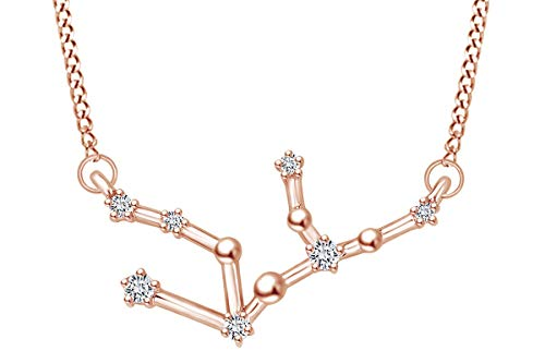 Round Cut Natural Diamond Constellation Virgo Pendant Necklace In 14K Solid Rose Gold