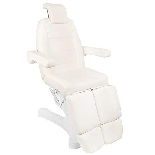 Activeshop Kosmetikliege Massageliege Massagetisch Massagestuhl 207C Pedi Weiss/Elfenbein bis 200 kg belastbar Premium-PU-Leder mit 5 Motoren vollelektrisch