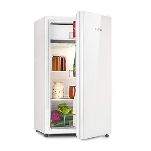 Klarstein Luminance Frost Kühlschrank - Fassungsvermögen: 91 Liter, Energieeffizienzklasse A+, Front aus Glas, Gemüse-Fach, 2 Glasböden, 3 Türfächer, 7-stufige Temperatureinstellung, weiß