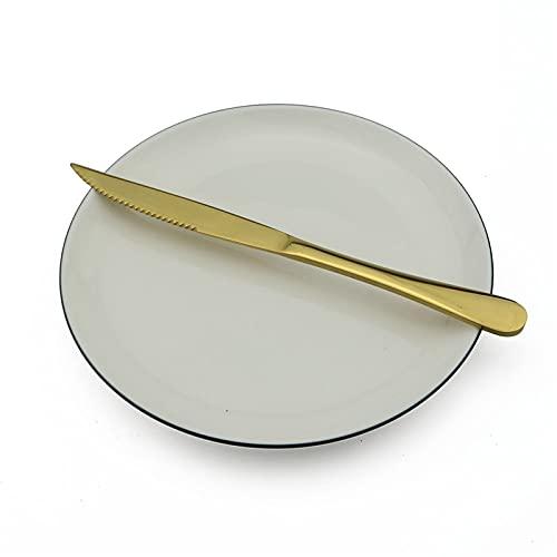 6pcs / lot cuchillos fijados cubiertos negro filete cuchillos de acero inoxidable arco iris/negro/dorado/de rosa filete cuchillo afilado Cuchillo de la cena de la carne (Color : Gold 6pcs)