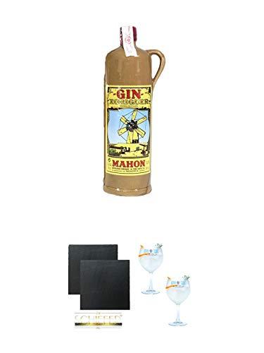 Gin Xoriguer KERAMIKFLASCHE Mahon Gin 0,7 Liter + Schiefer Glasuntersetzer eckig ca. 9,5 cm Ø 2 Stück + Gin Sul Copo Ballon Glas 2 Stück
