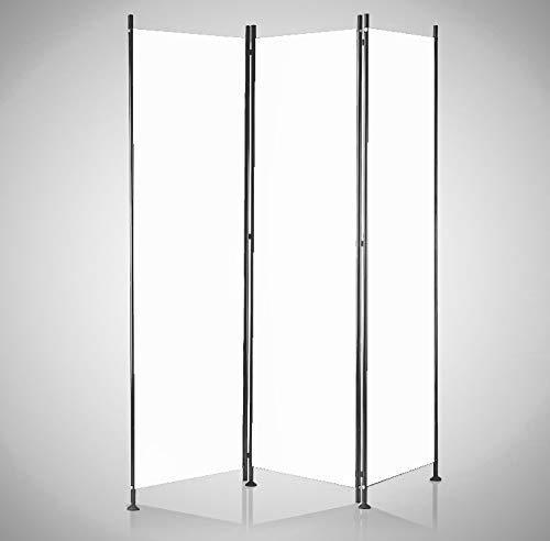 IMC Paravent 3-teilig weiß Raumteiler Trennwand Sichtschutz, faltbar/flexibel verstellbar, wetterfester Polyester-Stoff, Schwarze Metallstangen