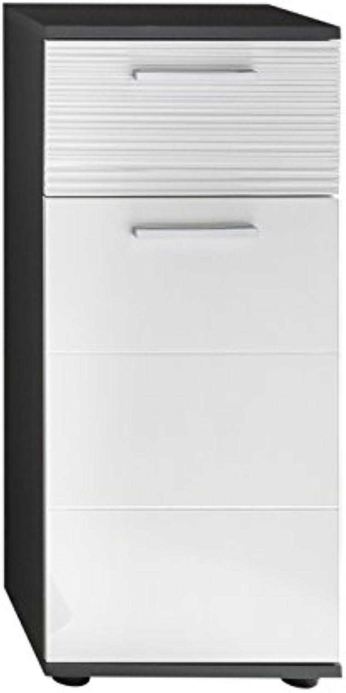 Trendteam Badezimmer Schrank Kommode Smart, 36 x 83 x 33 cm in Korpus Grau, Front Wei Hochglanz  mit viel Stauraum