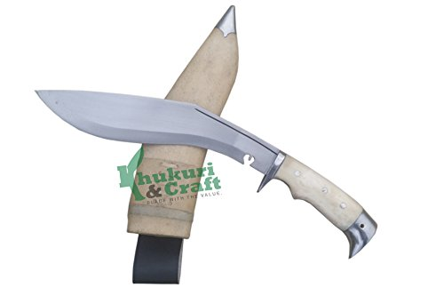 "Khukuri & Craft 10"" Blade American Eagle Bone Handle Best kukri White Sheath Working,Military Knives,Handmade, Nepal"