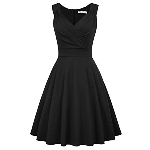 GRACE KARIN Retro Kleid Damen 50s Kleider Knielang v Ausschnitt Kleid schwarz Petticoat Kleid CL698-1 M