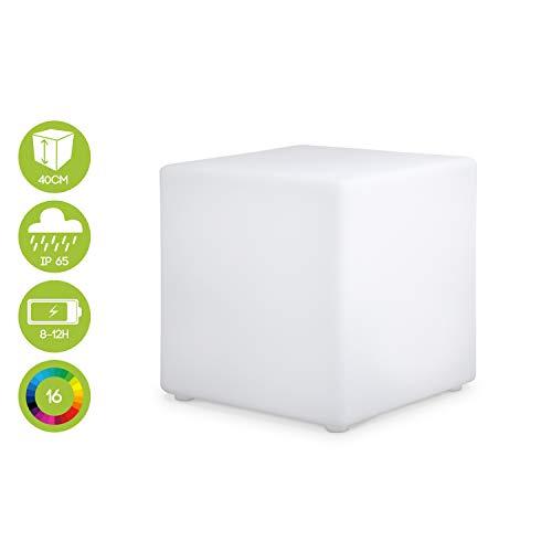 Alice's Garden - Cube LED 40cm - Cube décoratif lumineux, 16 couleurs, 40cm, rechargeable, télécommande