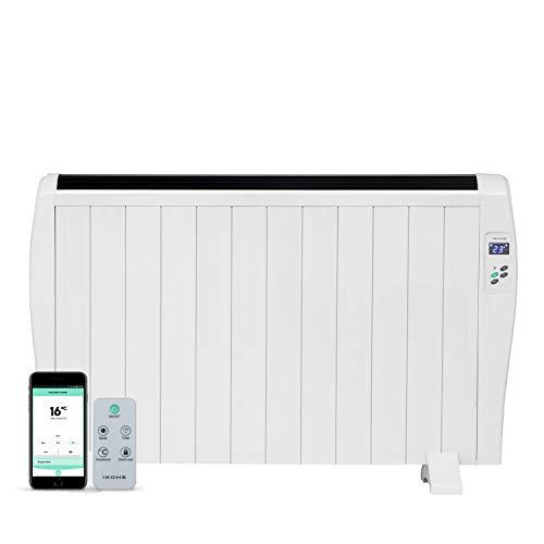 IKOHS EMITERM WiFi - Emisor Radiador Térmico, 12 Elementos de Calor, Pantalla Digital, WiFi, App, Mando a Distancia, Programable, Aluminio, Termostato, 16 a 40°C, Incluye Patas (2000 W)