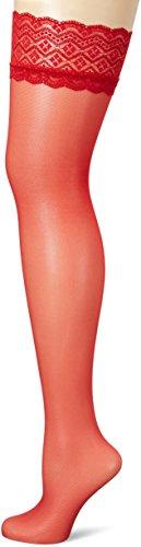 Fiore Damen Halterlose Strümpfe Celia/Obsession, 30 DEN, Rot, M (Herstellergröße:3)