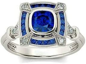Discount is also underway 3.5ct Cushion Cut Ranking TOP2 Blue Sapphire Engagement 14k White P Gold Ring