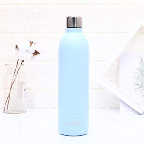 Metal Water Bottle,Drink Bottle,Stainless Steel Vacuum Insulated Water Bottle Reusable Double Walled Drinks Bottle Flask Standard Mouth,12 Hours Hot,24 Hours Cold - 500ml,Light Blue.Bike Light Set