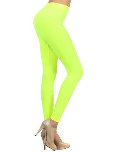 Islander Fashions Damen Stretchy Bright Leggings Damen Plain Gym Fun Run Neonfarben Hose Neongelb Medium/Large