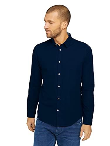 TOM TAILOR Herren 1023881 Basic Hemd, 10302-Dark Blue, 3XL