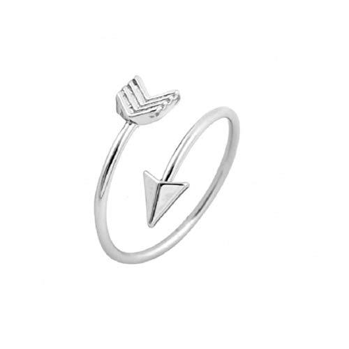 Casecover Klassische Liebe Pfeil Einstellbare Stacking Ring Für Frauen Öffnen Knöchel-Ring (Silber-und-Stainless-Steel)