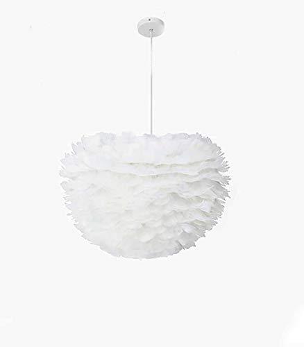 Lámpara de techo LED con forma de pluma blanca, moderna E27, para salón, comedor y diseño de 28 W, color de la bombilla del techo de la flor del dormitorio, pantalla decorativa de 30 x 42 cm