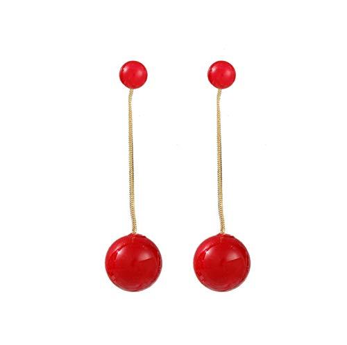 Brushes Pendientes Largos de Perlas Rojas Pendientes de Temperamento Simple y versátil Pendientes Pendientes Mujeres