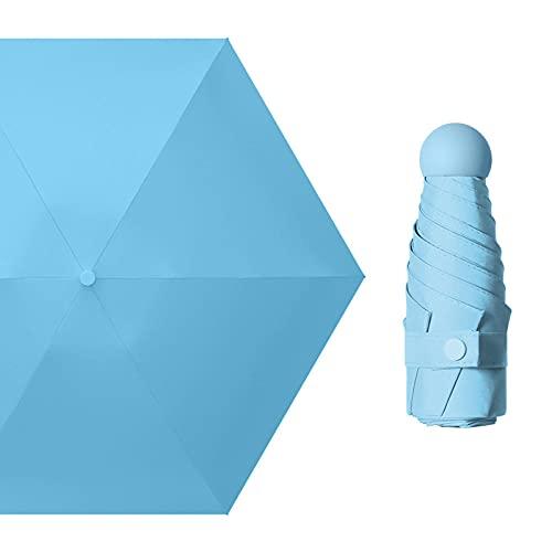 Mini Schwarzer Kleber 50% Rabatt auf Kapsel Regenschirm Sonnenschirm Sonnencreme Schwarzer Kleber Sonnenschirm Geschenk Werbung Regenschirm Benutzerdefinierte Logo-Himmelblau