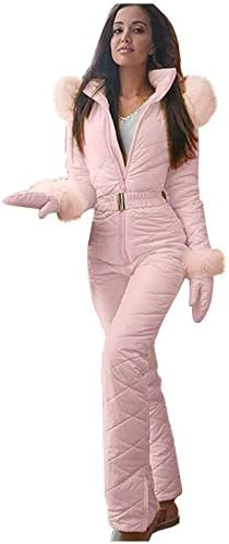 Women Winter Onesies Ski Suits Jumpsuit Coveralls Thick Hot Snowboard Fur Collar Coat with Hoodies product image
