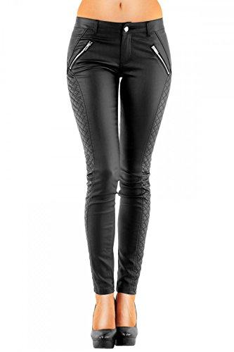 DANAEST Damen Kunstlederhose Röhre (163), Skinny Style, Gr. 38 M, Schwarz