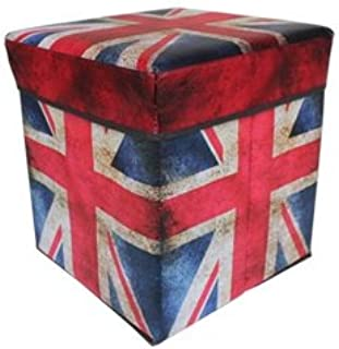Happy household Fabric Folding Storage Stool Ottoman Cube Storage Box Union Jack - Perfect for Toy, Shoe, Photo album, messy stuff in car