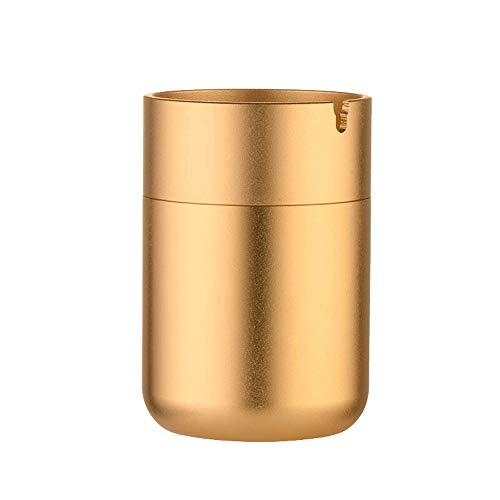 Asbak aluminiumlegering asbak - geschikt voor thuis/auto/multifunctioneel/vakantie geschenk/draagbaar/slaapkamer/nachtkastje, enz. Zwart Goud-7X10.4cm