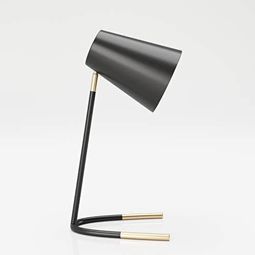 PLAYBOY Tischlampe, Schreibtischlampe mit schwarzem Metallgestell und Lampenschirm, Retro-Design, goldenen Akzenten, auch geeignet als Nachttischlampe oder Dekolampe, schwarz, gold