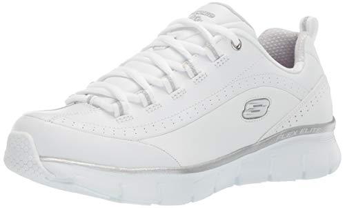 Skechers Synergy 3.0, Zapatillas Mujer, Blanco (White Leather/Silver Trim #Yellow WSL), 38 EU
