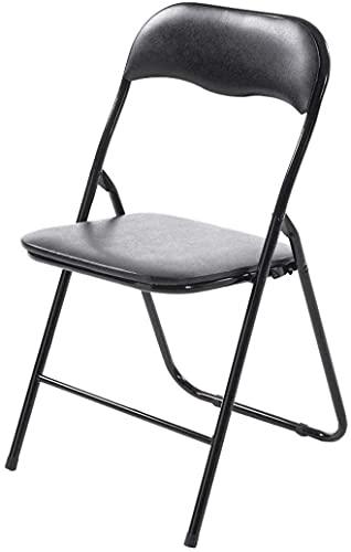 TIENDA EURASIA Silla Plegable de Aluminio con Respaldo y Asiento Acolchado en PVC Ideal para Cocina, Comedor, Salón, Dormitorio Medidas: 78x43,5x46 cm (Negro)