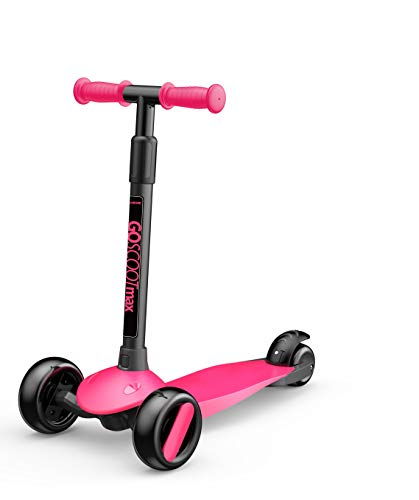 New Bounce 3-Wheel Kick Scooter - Kids Scooter with Adjustable Handelbar - The GoScoot MAX is Perfect for Children and Toddlers, Girls and Boys Ages 2-6 (Pink)